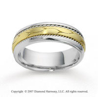 14k Two Tone Gold Modern Fashion Braided Wedding Band